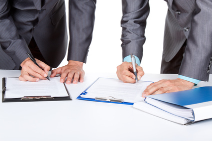 business people standing working with documents sign up contract